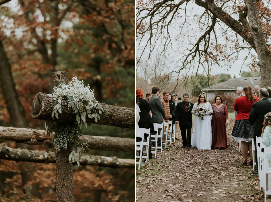 Crimson and White Fall Wedding in the Woods | Wisconsin Bride