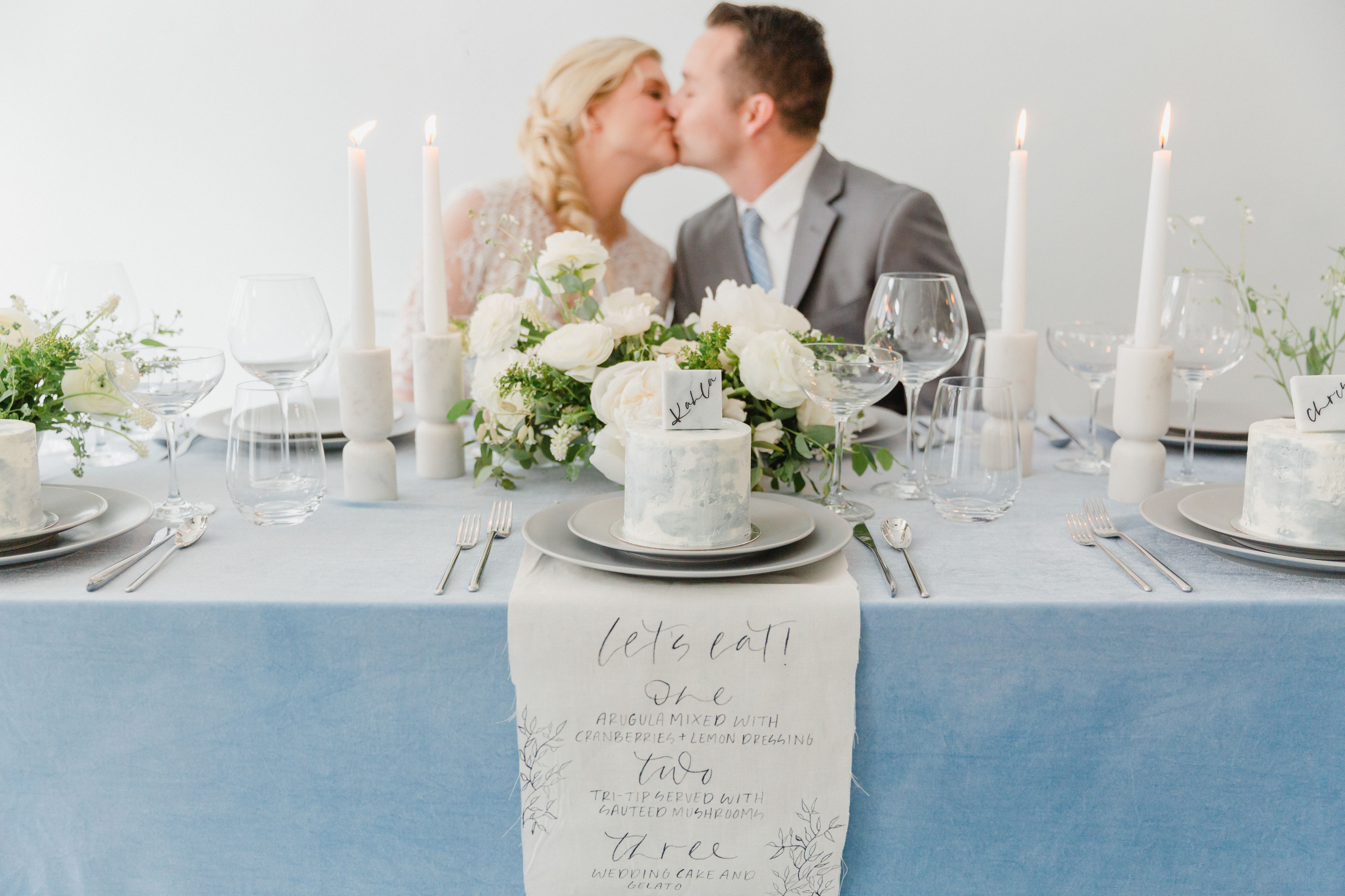 A styled shoot featuring classic blue linens and desserts. Pantone Color of the Year 2020.
