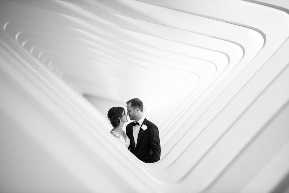 Kellen and Matt Bartel on their wedding day at the Milwaukee Art Museum