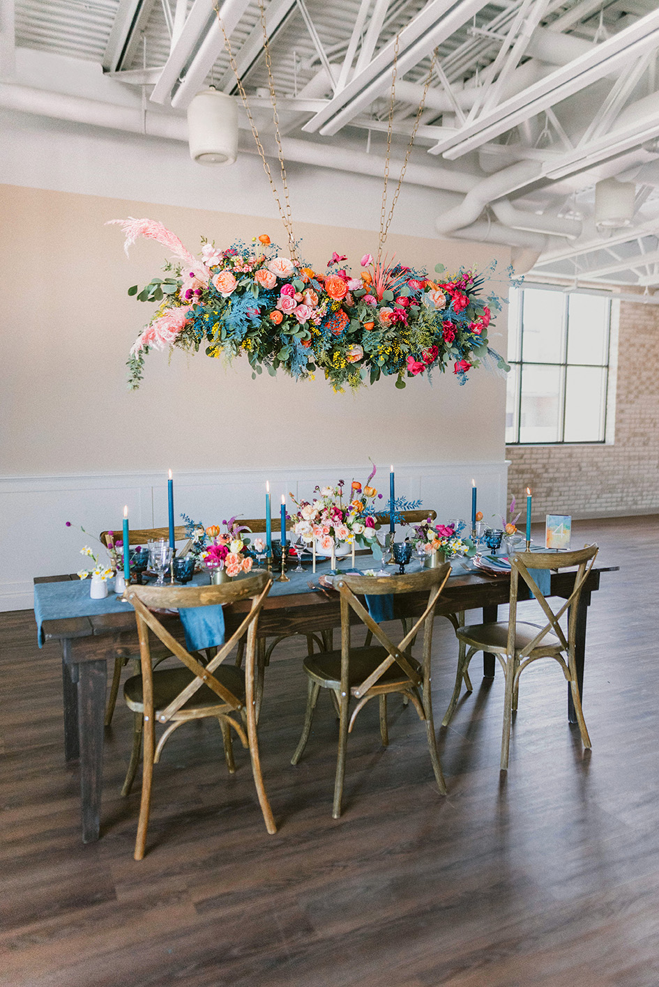bright floral tablescape