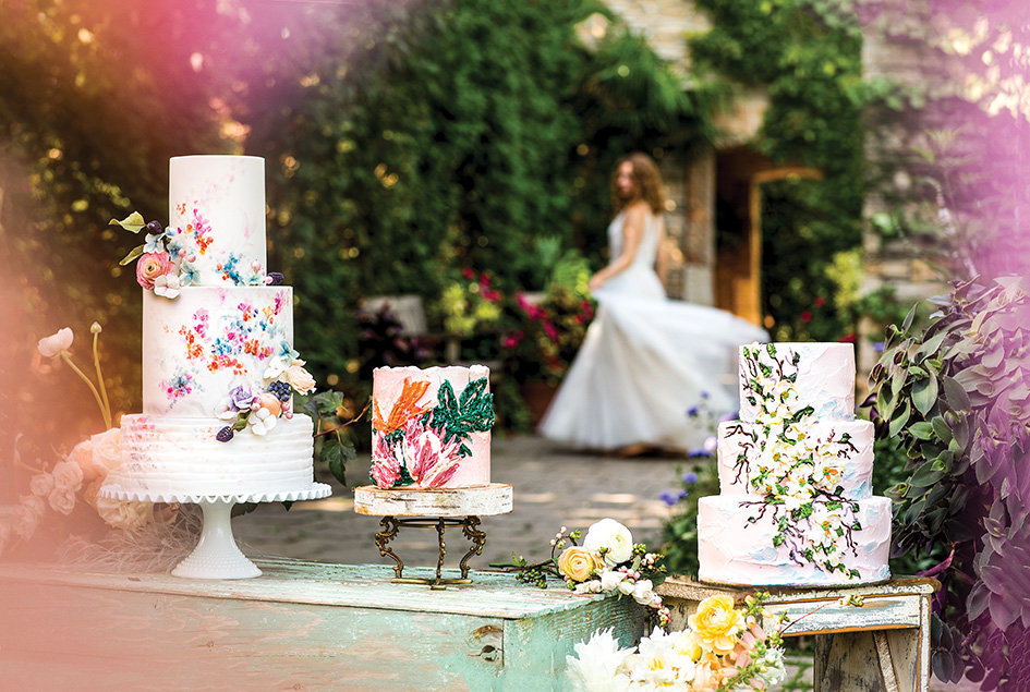 Artistic floral-inspired wedding cakes