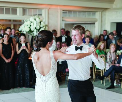 Kirsten Phillips and David Martin perform their choreographed first dance at the Oneida Golf and Country Club.
