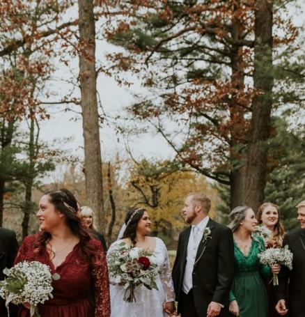 White and Crimson Wedding in the Woods | Wisconsin Bride