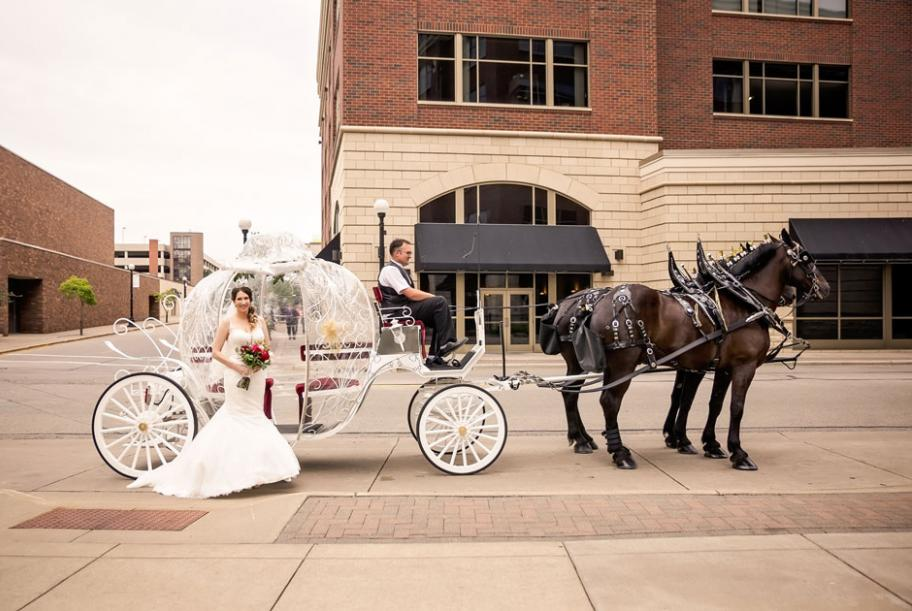 Couple celebrates their day, complete with horse and carriage, tiara and custom wine
