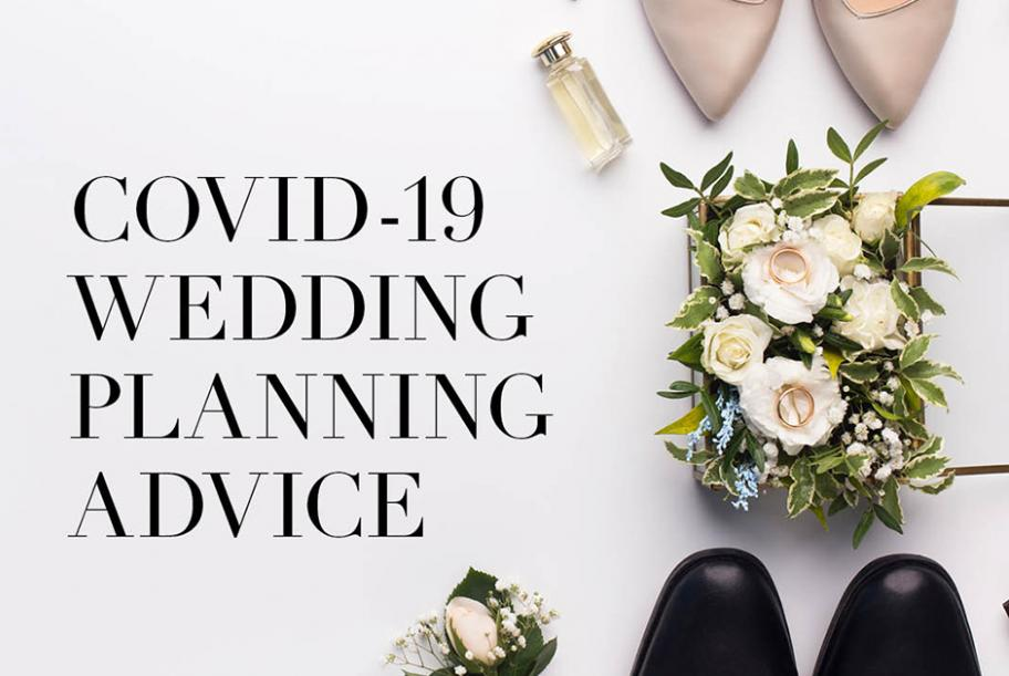 Covid-19 Wedding planning advice with bride and grooms shoes and bouquet.