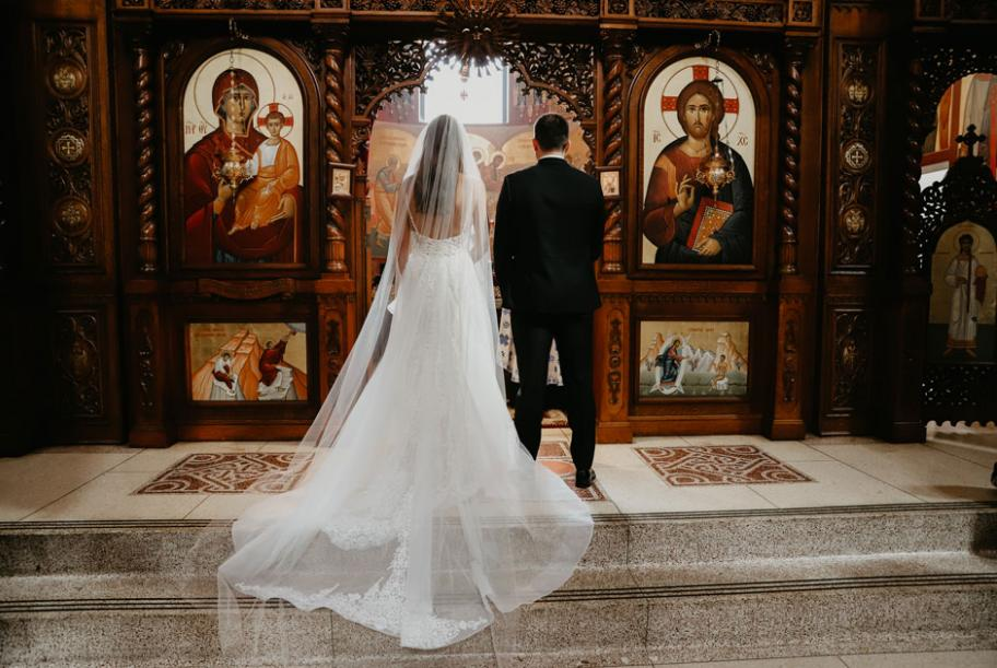 Demi and Aleks before their ceremony at New Gracanica Serbian Monastery in Third Lake, Illinois.