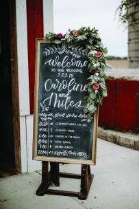 A chalkboard wedding welcome sign.