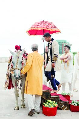 Bobby Syal prepare for his baraat, a tradition in Indian weddings.