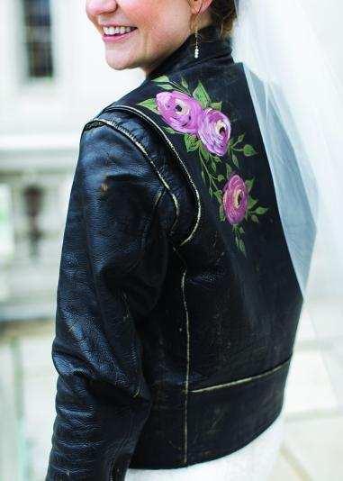 Jayme Udvare sports a leather jacket with floral accents.