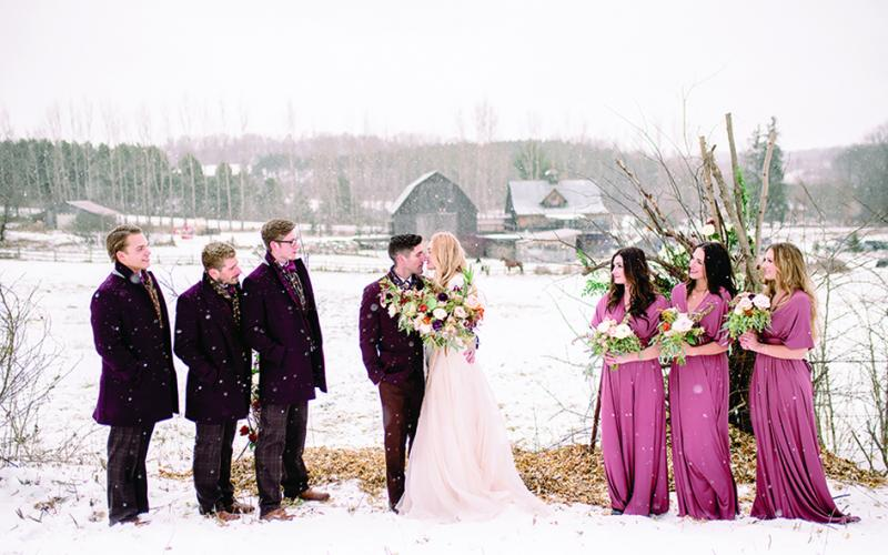 An intimate, elopement-style winter wedding in Wisconsin at The Enchanted Barn.