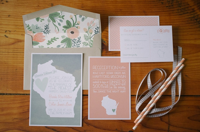 Wisconsin Themed Wedding Invitation Suite